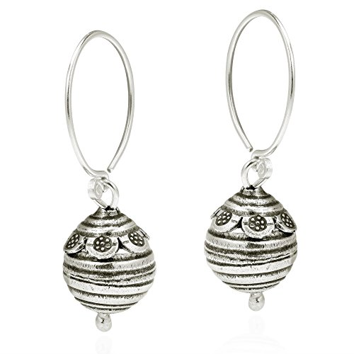 Flower Trimmed Bee Hive Ball Drop Hill Tribe Sterling Silver Dangle Earrings
