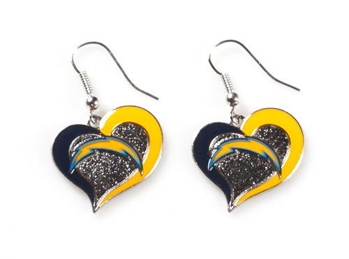 NFL San Diego Chargers Sports Team Logo Swirl Heart Shape Dangle Earring (San Diego Chargers Jewelry)