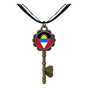 Chicforest Bronze Retro Style Antigua and Barbuda flag Key to Her Heart Pendant