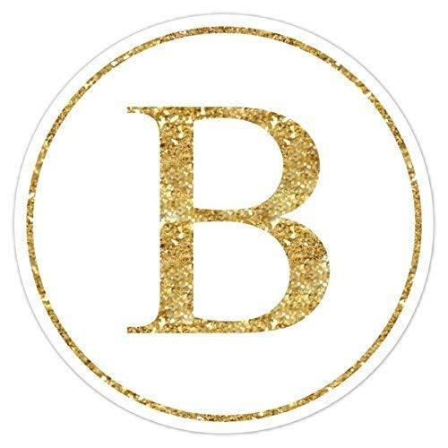 60 Gold Glitter Monogram Stickers, Glitter Print (not real glitter) Labels, Gold Monogram, Wedding Stickers, Envelope Seals, Monogram Labels - 2 inch round OR 2.5 inch round -