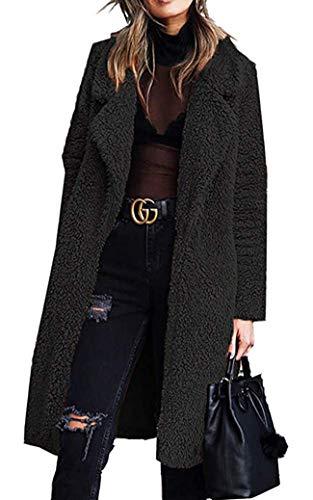 Women\'s Fuzzy Fleece Coat Lapel Open Front Long Faux Fur Shaggy Cardigan Coat Warm Winter Shearling Outwear Parka with Pocket (Black,US S, Tag M)