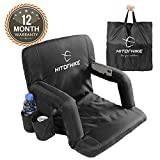 Hitorhike Stadium Seat for Bleachers or Benches Portable Reclining Stadium Seat Chair with Padded Cushion Chair Back and Armrest Support (Foldable Black)