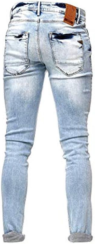 Rusty Neal Jeans Light Blue Pants męskie dżinsy jasnoniebieskie sprane Slim Fit Stretch 44: Odzież