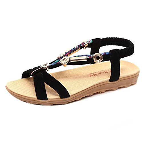 Clearance! ❤️ Women's Sandals, Neartime Fashion Summer Style Elastic T-Strap Bohemia Beaded Solid Color Flat Shoes (7, Black) ()