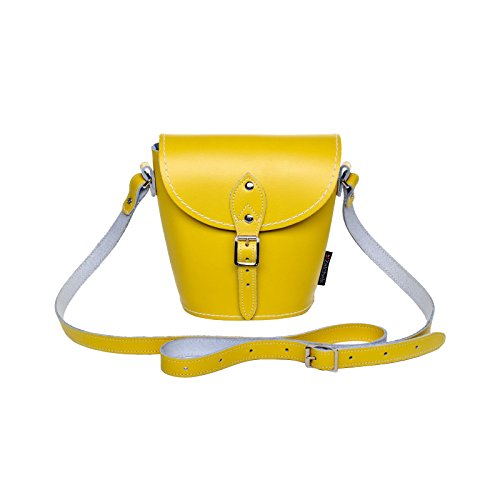 Zatchels Leather Flap Bag With Handmade Pastel Yellow Daffodil For Women
