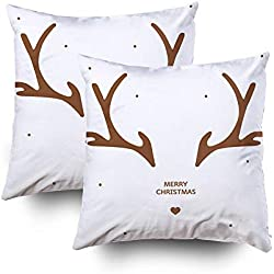 GROOTEY Christmas Decorative Cotton Square Set of 2 Pillow Case Covers with Zippered Closing for Home Sofa Decor Size 18X18Inch Costom Pillowcse Throw Cover Cushion, Antler Christmas Card Template