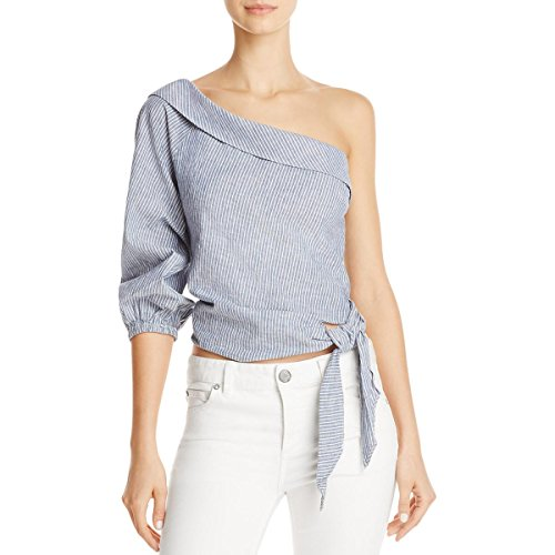 Free People Womens Get Down Pinstriped Tie-Side Casual Top Blue 10 (People Tunic Cotton Free)