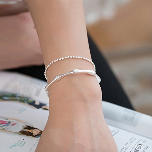 - Women Gift Steadily high Literary sen Women Girls Design s925 Silver Bamboo Bracelet Bangle Girlfriend Birthday Christmas Gift