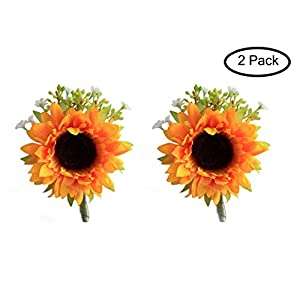 MOJUN Groom Wedding Flower Boutonniere Simulation Sunflower, Pack of 2 6