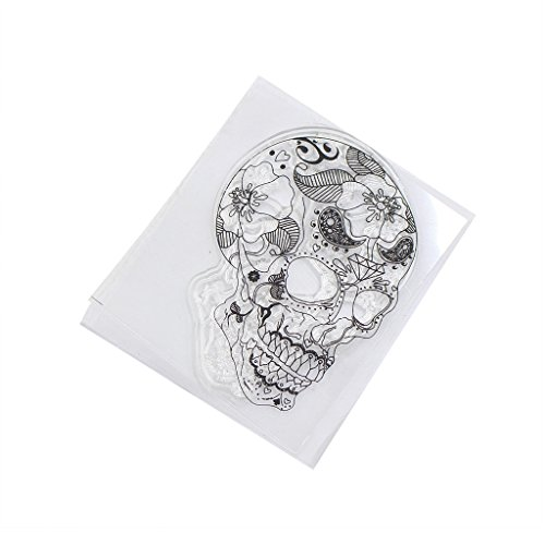 Ronri Skull Transparent Silicone Clear Rubber Stamp Cling Diary Scrapbooking DIY Craft -