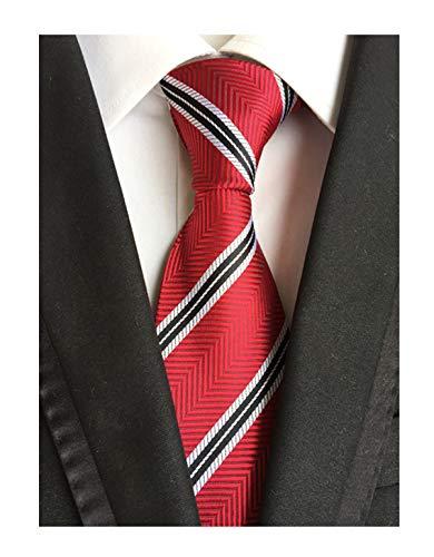 Men Herringbone Stripe Repp Ties in Red White Silk Neckties for Brother Grandson ()