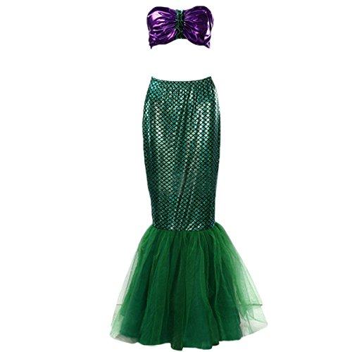 Quesera Women's Mermaid Costume High Waist Wet Look Fancy Long Skirt Halloween Costume, Green, (Adult Mermaid Costume Ideas)