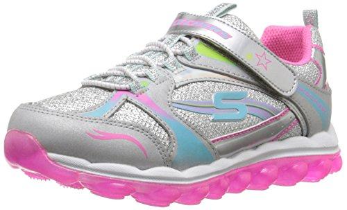 Skechers Kids Skech Air Bubble Beatz Bungee and Strap School Sneaker (Little Kid/Big Kid),Silver/Pink/Multi,