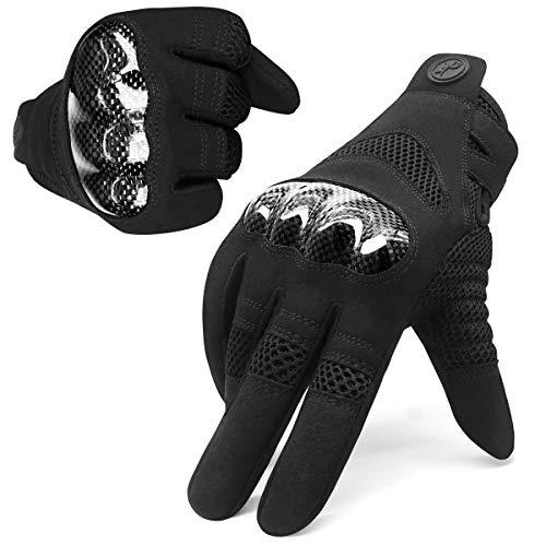 HNOOM Motorradhandschuhe Sommer Touch Screen Motorrad Handschuhe mit Carbon-Knöchelschutz rutschfeste Fahrradhandschuhe…