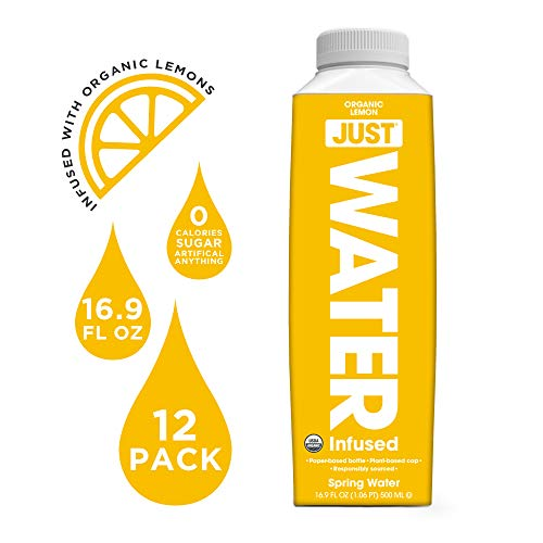(JUST Water Infused - Organic Lemon, 100% Premium Spring Water flavored with Organic Essences in a Paper-Based Recyclable Bottle, No Sugar, Artificial Flavors or Sweeteners, 16.9 Oz, (Pack of)