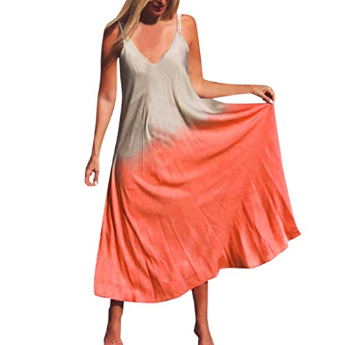 Women's Bohemian Fashion Comfy Dress Sleeveless Sexy Large-Scale Plain Dress Print Scoop Neck Swing Beach Dress Orange