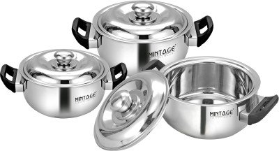 Mintage Divine Stainless Steel Hot Case Casserole  Large, Medium , Small, Silver    Set of 3 Pieces