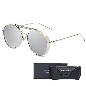 Aviator Full Silver Mirror Metal Frame Sunglasses (SILVER, SILVER)