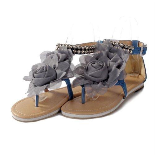 New Summer Fashion Flower Beaded Women's T Strap Sweet Flats Sandals Shoes (8, Blue)