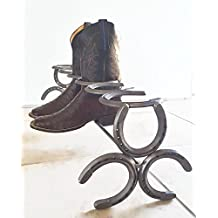 Free Shipping - Horseshoe Boot Rack - The Heritage Forge - 2 pairs, 3 pairs, and 4 pairs - Boot Holder