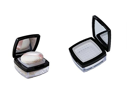 10ml 0.34oz Empty Clear Square Make-up Loose Powder Container Case with Soft Sponge Powder Puff Mirror Black Lid and Sifter Compact Glitter Powder Foundation Box