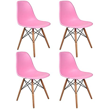 Set Of 4 Elecwish Eiffel Style Side Dining Chair ELERANBE 17 8 Height Armless Accent Chairs With Eiffel Natural Beech Wood Base Legs For Dining Room Waiting Room Bedroom Kitchen Pink 4 Pcs