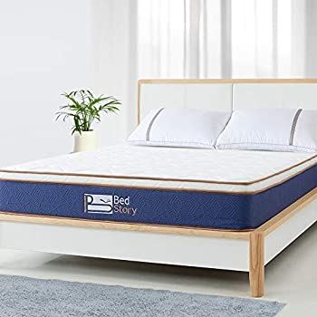 BedStory 10 Inch Natural Latex Hybrid Mattress Twin, Soft Foam and Supportive Individually Encased Pocket Coils Mattress, Luxury Medium Firm Euro Top ...