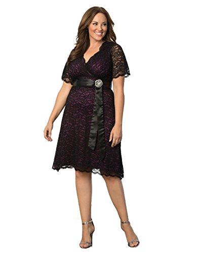 Kiyonna Women's Plus Size Retro Glam Lace Dress 3x Black Lace/Purple Lining