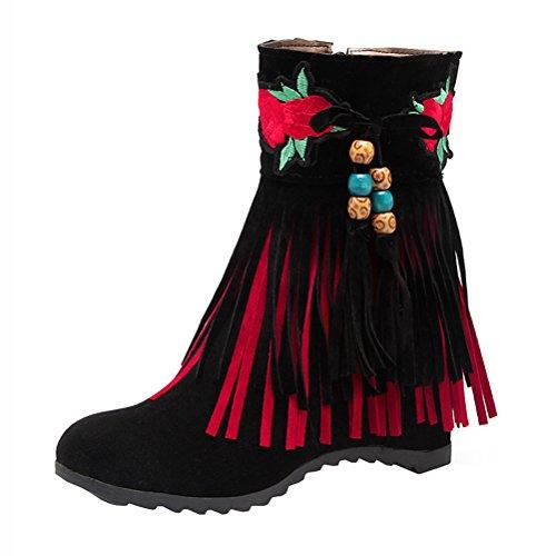 cremallera de con Nubuck tacón botines mujer para cuñas de Classic bordado medias de de franja zapatos niveles negro dos Agodor Retro cuero Z6AOWvqO