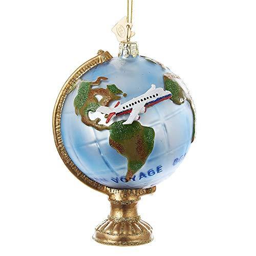 Kurt Adler Noble Gems Globe with Airplane Christmas Ornament
