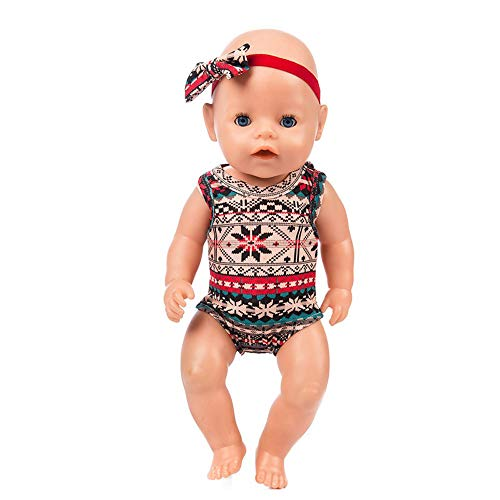 Livoty American Toy Girl Doll Clothes Baby Clothes Suit with Hair Belt for 18 Inch American Toy Girl Doll Accessory Girl's Toy (E)