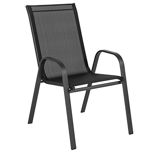 Flash Furniture Brazos Series Black Outdoor Stack Chair with Flex Comfort Material and Metal Frame