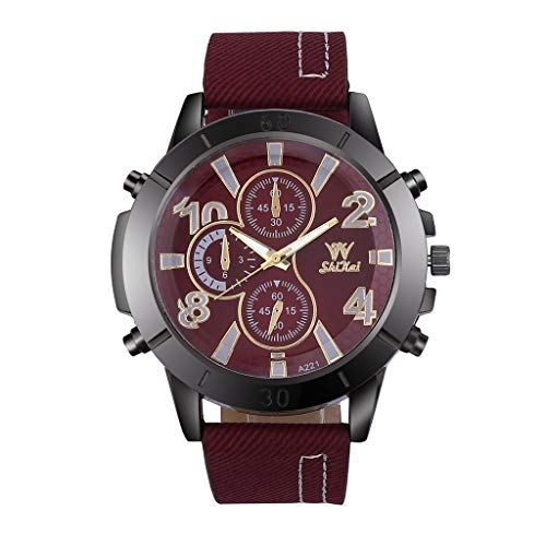 Business Watch for Men Analog and Digital,LYN Star❀♪ Boy's Fashion Business Quartz Watch with Brown Leather/Mesh Strap