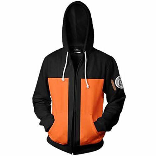 - CHENMA Men Naruto Naruto Kakashi Long Sleeve Full-Zip Bomber Jacket Hooded Varsity Jacket (XXL/US XL, Orange)