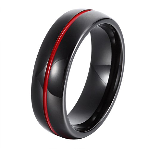 L-Ring 7MM Black Tungsten Metal Domed Ring with Polished Finish and Red Groove in the Center, Size 7-14(10) by L-Ring