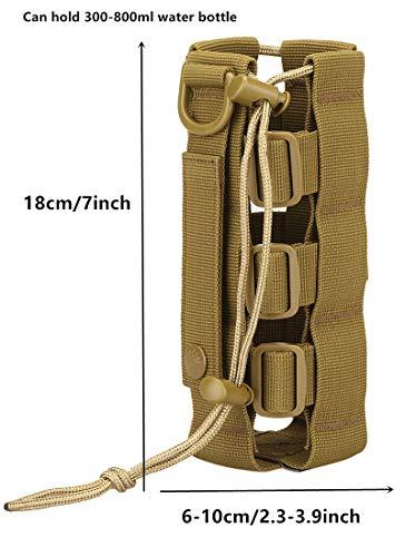 Yakmoo Sac de Bouteille d'eau Réglable 300-800ml Style Militaire Tactique Nylon Sac Bandoulière Imperméable Molle… 3