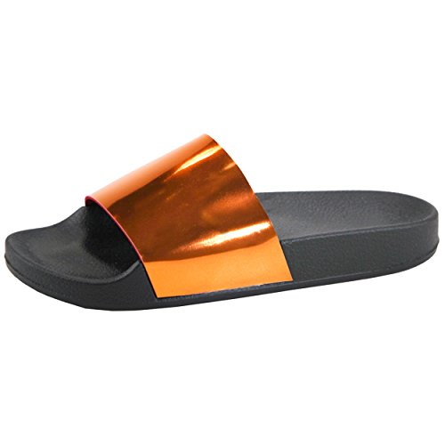 Da Donna Scivolo Su Glitter Catena Sandalo Piatto Sandalo Infradito Antiscivolo Metallico