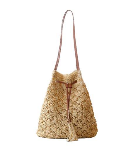 Tonwhar Womens Summer Fresh Paper Straw Bucket Bag Woven Beach Tote Bag (Beige)