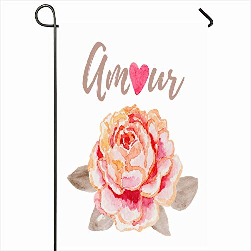 (Ahawoso Outdoor Garden Flag 12x18 Inches Floral Watercolor Amour Valentines Day Tee Flower Nature Drawn Pink Big Blush Delicate Design Seasonal Double Sided Home Decorative House Yard Sign)