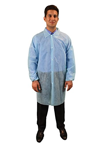 Keystone LC0-BE-NW-LRG-BLUE Polypropylene Lab Coat, No Pocket, Elastic Wrists, Snap Front, Single Collar White, Large, Blue (Pack of 30)
