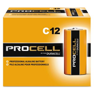 Procell Alkaline Batteries, C, 12/Box, Sold as 2 Box, 12 Each per Box by Duracell