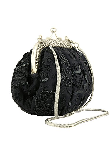 MyBatua noir sac à main tissus soir, dames sac à main, sac à bandoulière, sac de fête ACB-666