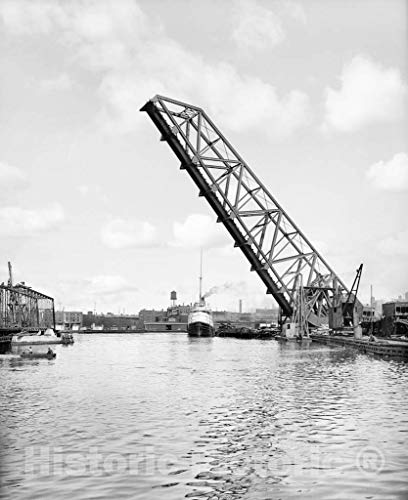 Restored Black & White Photo - Historic Cleveland, Ohio - City of Montreal on the Cuyahoga, c1910   44in x 55in