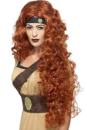 Smiffys Extra Long and Curly Auburn Wig, One Size, Medieval Warrior Queen Wig, 43660 ()