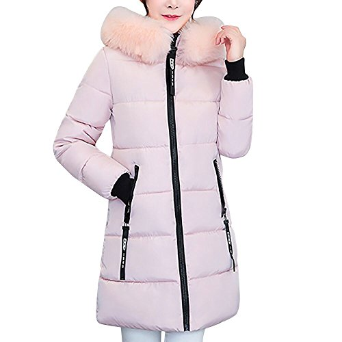 POTO Women Coats Plus Size, Fashion Winter Long Down Jacket Warm Cotton Slim Zip Coat with Fur Hood Outwear(L-4XL)