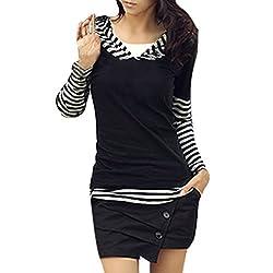 Allegra K Women Long Sleeve Stripe Hooded Shirt Patchwork Tops