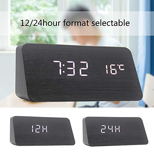 OFLILAK Digital Alarm Clock, with Wooden Design &Adjustable Brightness for Heavy Sleepers, 3 Alarm Setting Plus Weekend Setting, Display Time Temperature Humidity Date for Bedroom Office (Black)