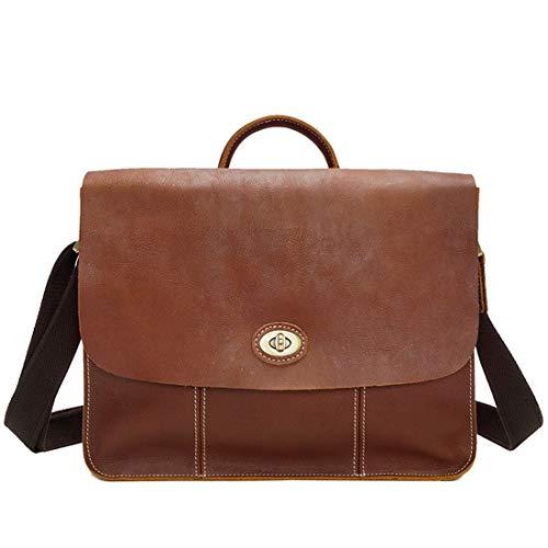 scuola e in Borsa Vintage Borsa tracolla tracolla marrone Lishihuan a chiaro a giorno valigetta pelle per uomo qC6nzBg