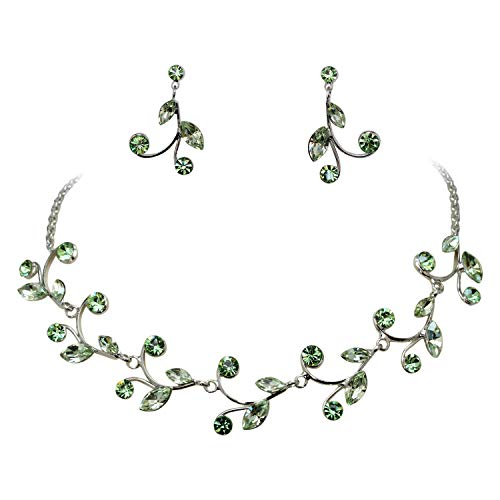 Faship Gorgeous Green Rhinestone Crystal Floral Necklace Earrings Set - Peridot Green