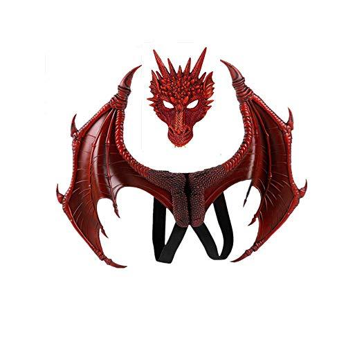 (Halloween Carnival mask Dragon mask Cosplay Dragon Wings Dragon Tail (red) )